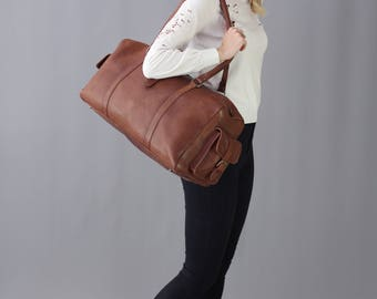 The Bowling Bag: vintage style brown leather holdall duffel gym weekend overnight bag luggage unisex womens personalized gift monogram