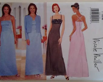 Butterick #6048 Spaghetti Strap Evening Gown Bridesmaid Dress and Evening Jacket Designed by Nicole Miller Size UK 12 Bust 34""