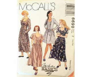 UNCUT McCall's Fashion Basics #6690 Vintage Loose Fitting Pintuck Cotton Summer Dress Sewing Pattern 4 Options 2 Sizes Large and Extra Large