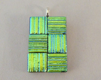 Green Gold Dichroic Fused Glass Pendant, Fused Glass, Fused Glass Pendant, Necklace Pendant, Dichroic Pendant, Dichroic, Pendent, Green