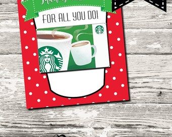 INSTANT DOWNLOAD Thanks A Latte Christmas Thank You Card Printable Digital