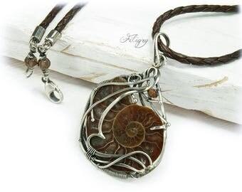 Ammonite, Turmaline 935 Pendant with Leather Necklace