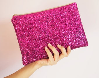 Magenta Glitter Clutch Bag, Sparkly Hot Pink Bag, Sparkly Pink Clutch Bag, Pink Glitter Party Bag, Bright Pink Clutch Bag, Magenta Bag,