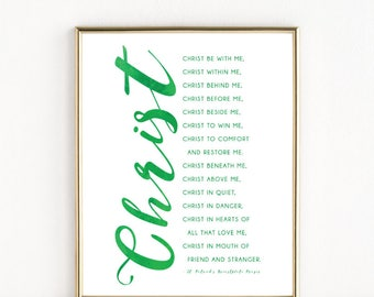 St. Patrick's Breastplate Prayer | Irish Catholic Saint Art | 8x10 Print