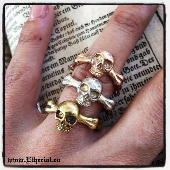 Etherial Jewelry - Rock Chic Talisman Luxury Biker Custom Handmade Artisan Pure Sterling Silver .925 Handcrafted Badass Skull band Ring