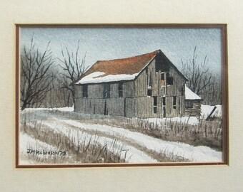 Country Barns Winter Landscape Painting - JM Robinson Signed Original Canadian Art Watercolor Painting Vintage Framed Art - Farmhouse Decor