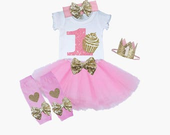 First Birthday Tutu Outfit Pink and Gold 1st Birthday Outfit Cupcake