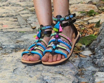 "Gladiator Sandals ""Iris"", Greek Leather Sandals, Boho sandals, Strappy sandals, pom pom sandals, colorful hippie sandals, Spartan sandals"