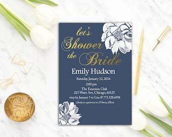 Navy Bridal Shower Invitation Printable, Floral Bridal Shower Invite, Navy  Gold Bridal Shower Invitation, Flower Bridal Invitation, Printed