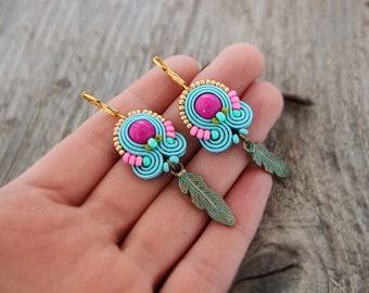 Bright neon earrings, pink and turquoise earrings, neon jewelry, boho jewelry