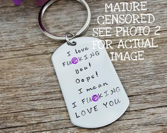 Naughty Valentine's day gift for him, Husband Gift, Boyfriend Gift, Gifts for Men, Anniversary gift, F*ck Keychain, Adult Humor