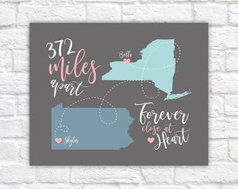Moving Away Gift for Friend, Long Distance Friendship -  Custom Map, Miles, Distance Between, Heart Travel map, BFF Birthday Gift | WF423