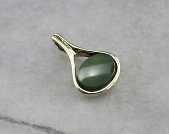 Modernist Jade Green Gold East to West Pendant, Layering Pendant, Cabochon Pendant MNRW3D-P
