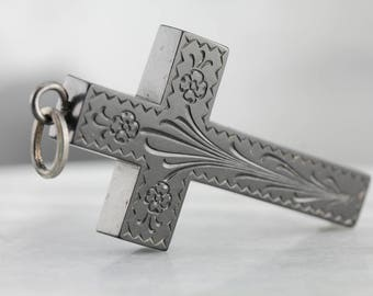 Victorian Gutta Percha Cross, Victorian Mourning Jewelry, Antique Pendant, Floral Cross, Estate Jewelry EVL02V-N
