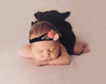 Black Stretch Knit Mohair Wraps - Black Mohair Newborn Prop Wraps - Black Knit Wraps - Black Newborn Photo Props - Ready to Ship