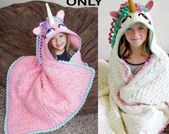 Crochet Hooded Unicorn Blanket Pattern (PDF FILE)