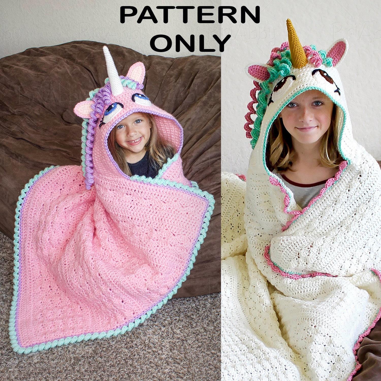 CROCHET PATTERN - Hooded Unicorn Blanket Pattern (PDF File