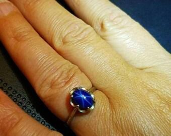 Vintage 10k Blue Star Sapphire Ring