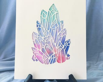 Paper Cut & Painted Crystal Cluster #1