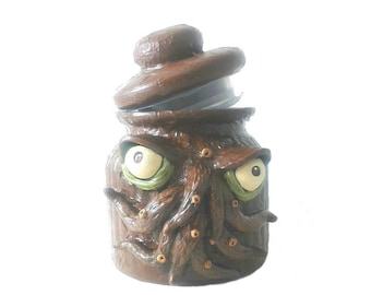 Cthulhu stash jar, mixed media  monster jar