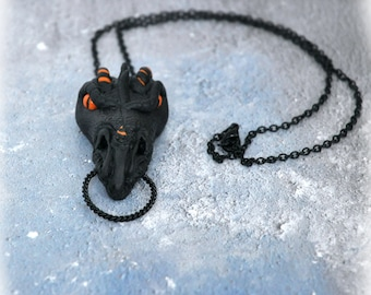 Dragon Head Pendant Necklace Handmade OOAK Fantasy Jewelry with a gothic Touch