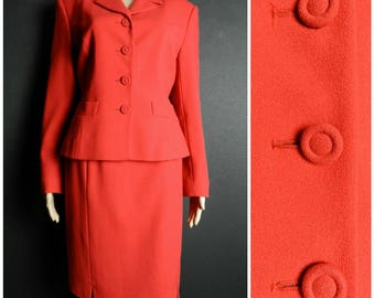 80s PURE NEW WOOL pillarbox red fitted two piece ladies fitted suit jacket + pencil skirt U.K. 10 - 12 sm