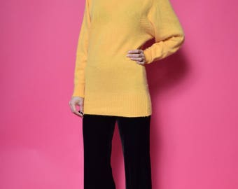 Vintage 90's Mohair Yellow Sweater / Turtleneck Wool Sweater - Size Small