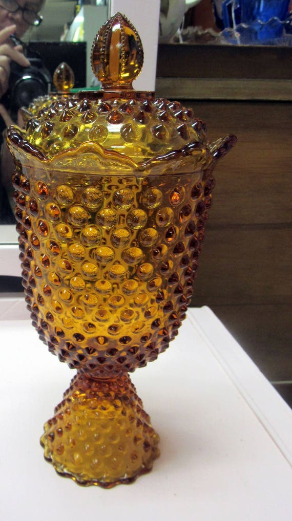 Amber hobnail candy dish with lid