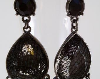 Black lace dangle earrings