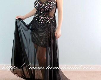 Elegant Gorgeous Gothic Black scoop Neckline A-Line Prom dress, short sexy Wedding party Dress, Black crystal graduation gown