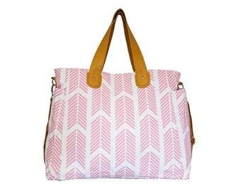 Rose Pink Arrows Weekender Diaper Tote Bag