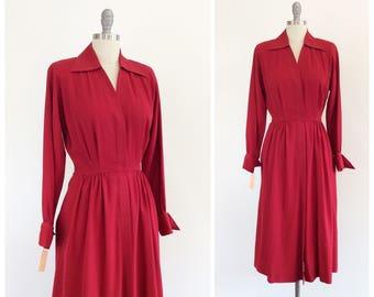40s Red Gabardine DEADSTOCK Dress / 1940s Vintage Long Sleeve Dress / Small / Size 4