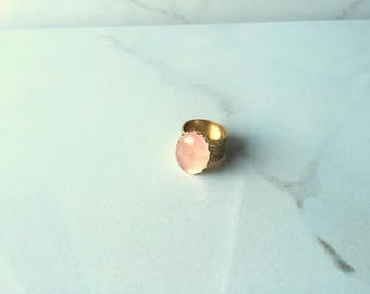 Raw Rose Quartz Oval Ring in Gold - Gemstone Jewelry - Valentine's Day Gift - Gifts for Her