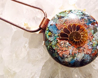 Powerful Orgone Pendant - Emerald/Turquoise/Blue Apatite/Amazonite/Ammonite/Clear Quartz  - FREE WORLDWIDE SHIPPING!
