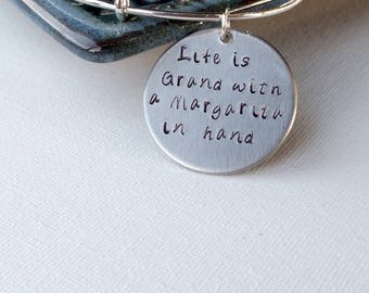 "Wine Quote - Life is Grand Pendant, 1 1/4"" Circle Handstamped - Beer Jewelry - Mom Jewelry - Gift for her - Margarita Gift - Martini Gift"