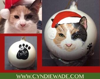 Cat Ornament Painted Cat Kitten Christmas Bulb Cat Portrait