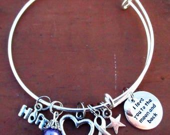 Purple Awareness I Love You To The Moon and Back Bangle Charm Bracelet Pancreatic Cancer ADHD Fibromyalgia Crohn's Disease ADD Epilepsy