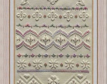 Orchid Hardanger Chart to work on 28 count evenweave with Pearl Cotton and Mill Hill beads. Rectangular Design. Hardanger Embroidery.