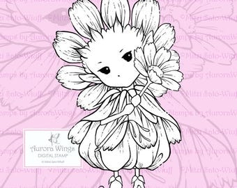 PNG Digital Stamp - Whimsical Cosmos Sprite - Instant Download - digistamp - Fantasy Line Art for Cards & Crafts by Mitzi Sato-Wiuff