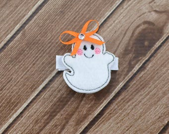 Ghost Hair Clip, Chost Hair Bow, Ghost Bow, Ghost Clip, Halloween Hair Clip, Halloween Hair Clip, Halloween Ghost Clip, Ghost Felt Hair Clip