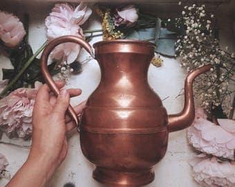 Pitcher jug vase shape copper effect metal teapot, retro vintage romantic shabby style decor chic bohemian folk tradition boho orient