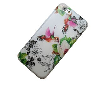 Color Humminbird Floral, iPhone Case iPhone 5, SE iPhone 6 iphone 7, iPhone 6 Plus, iPhone 7 Plus, Galaxy S7, Note 5, iPhone 5c, Gift