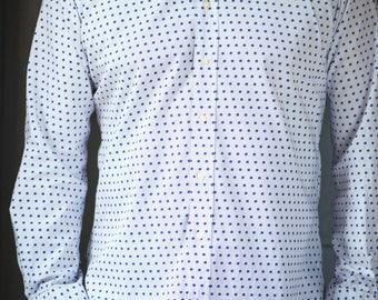 Men's Shirt Big Dot Small Dot - Long Sleeve Cotton Shirt - Etro White Shirt - Men's Shirt Size 41 - Dotted Summer Shirt Cotton Italy made