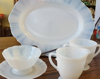 MacBeth Evans American Sweetheart Monax (white) set including: oval platter, sugar & creamer with a sherbet and underplate