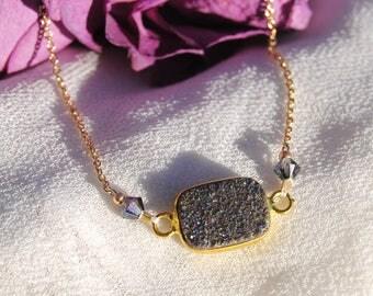Purple Druzy Crystal and Swarovski Necklace
