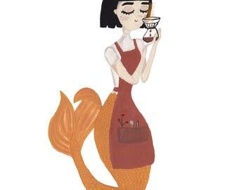 Coffee Mermaid Print