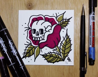 Skull Rose Traditional Tattoo Original Watercolor Limited Edition of 6