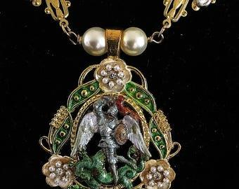 Archangel Michael necklace--Renaissance necklace angel Saint Michael dragonslayer OOAK