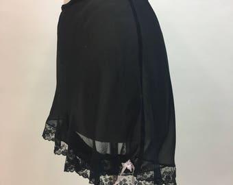 1930s Black Panties / 1920s 1930s Black Silk Chiffon Tap Pants / Vintage Lingerie Shorts / size L - XL Volup