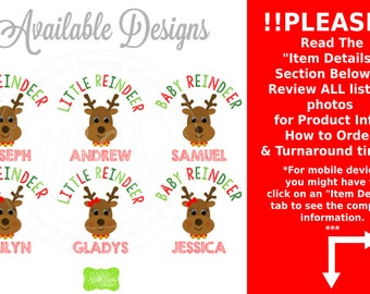Personalized Reindeer Iron On - Brother Reindeer Iron On - Sister Reindeer Iron On - Reindeer Transfer - Sibling Decals - EMAILED or SHIPPED